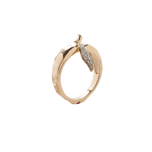 Golden Apple Ring with Diamond Leaf and Ruby Core