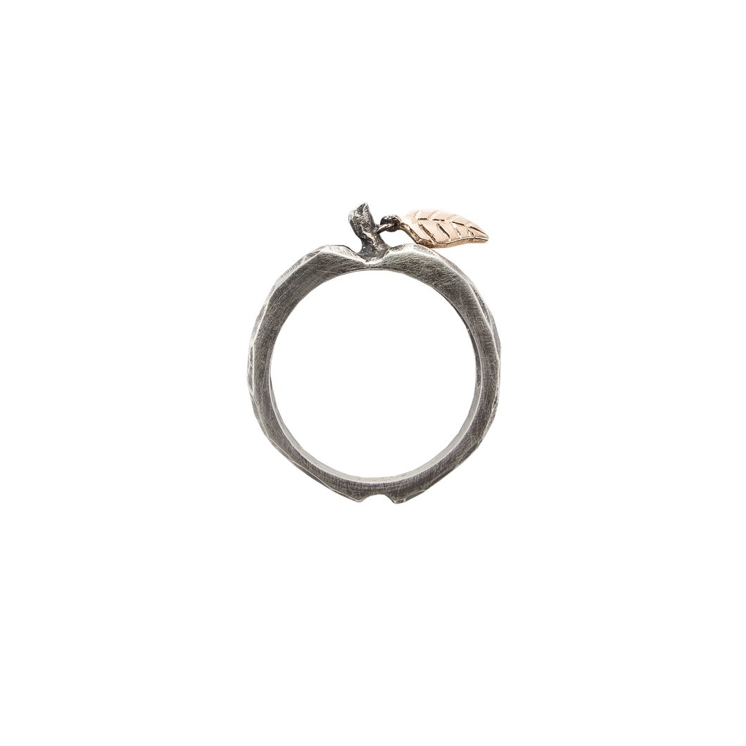 Sterling Silver Apple Ring with Antique Finish and Gold Leaf