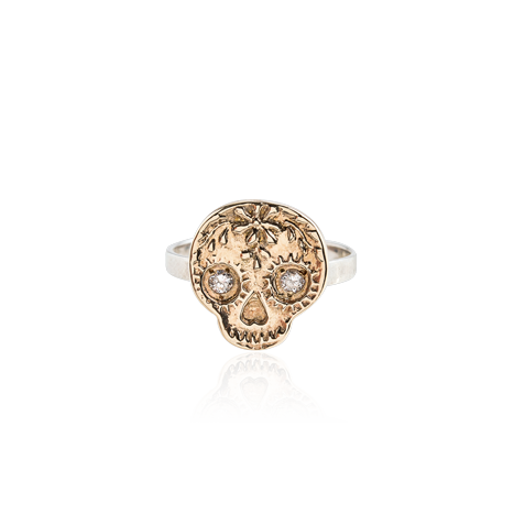 Mini Gold and Diamond Skull Ring