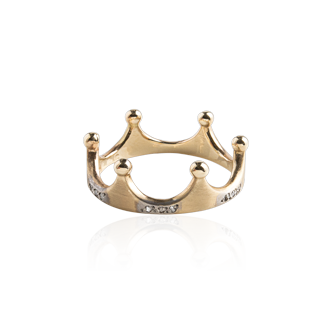 Gold Crown Ring with Diamonds