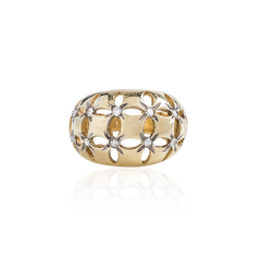 Open Work Dome Ring in Gold and Diamonds