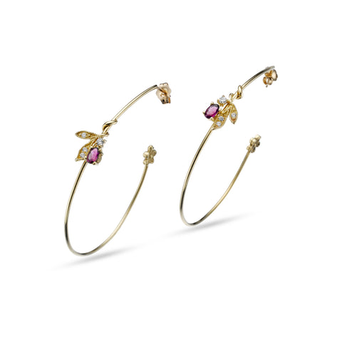 Floral Hoop Earrings in 18Kt Gold with Ruby and Diamonds