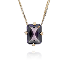 Vintage Amethyst Glass and Diamond Pendant Necklace