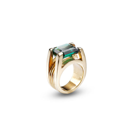 18kt gold Green Quartz Ring