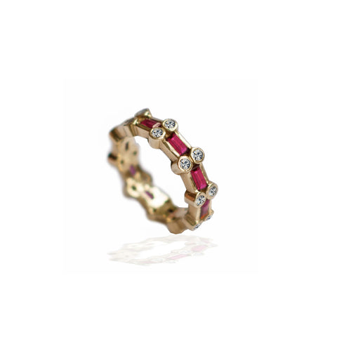Ruby and Diamond Eternity Band Ring