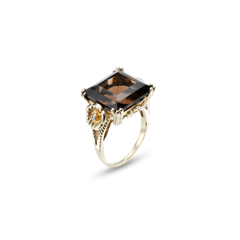 Lush Princess Cut Smoky Quartz Ring