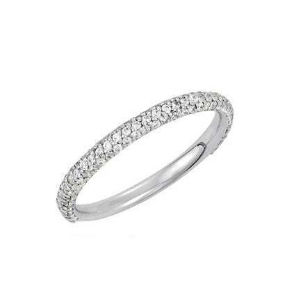 3 Row Micro Pave' -  3/4 around -  Diamond Band