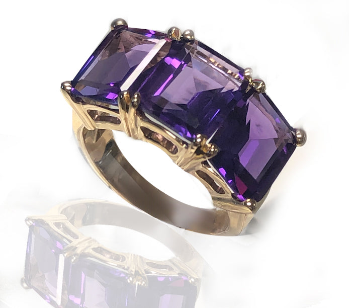 Triple Amethyst Ring in 14KT Yellow Gold