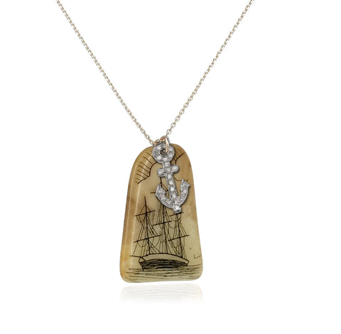 Vintage Scrimshaw Pendant with White Gold Anchor