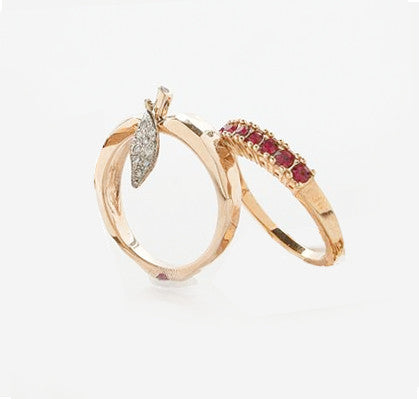 Stackable Birth Stone Rings in Yellow Gold