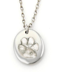 Sterling Silver Dog Paw Necklace on Long Chain