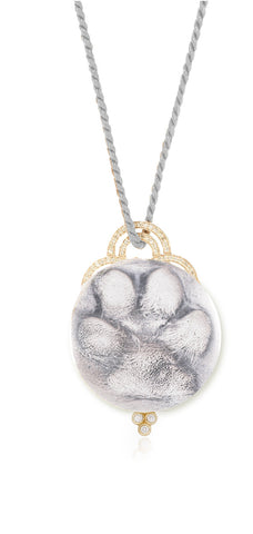 Sterling Silver Dog Paw Pendant with Gold and Diamond Bezel