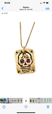 Sterling Silver Skull Square Necklace with Ruby Eyes