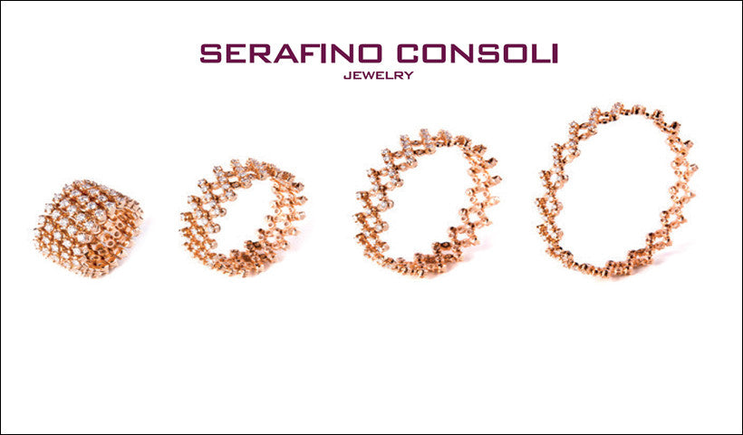SERAFINO CONSOLI -  WHITE Gold - WHITE Diamonds - Expanding Ring