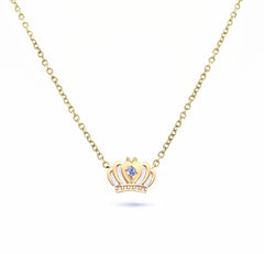 Tiny Crown Necklace with Diamond