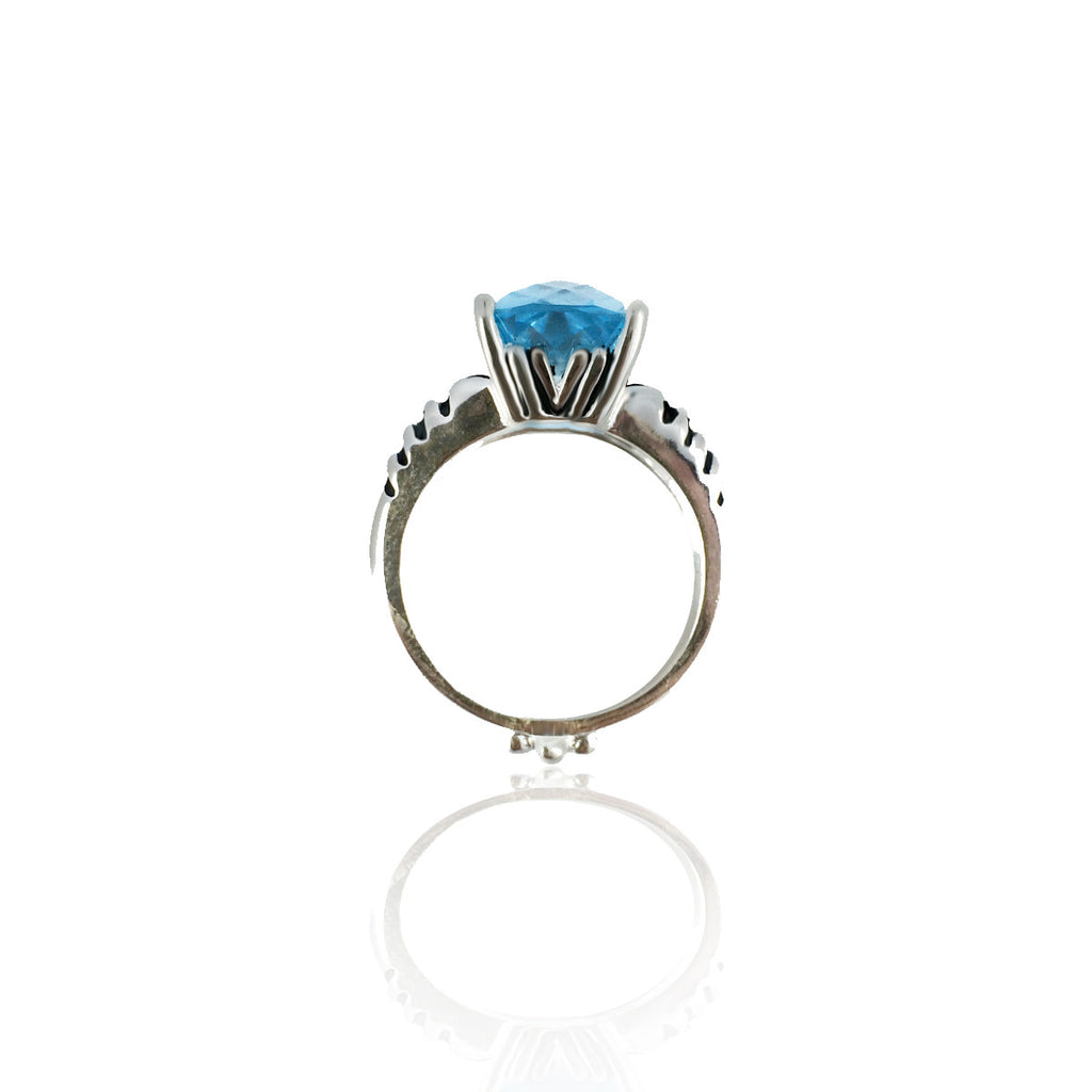 "2014 $199 ""VICTORY"" Blue Topaz  Pace Ring"