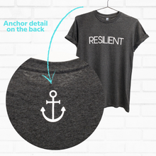 Load image into Gallery viewer, anchor detail on the back of resilient t-shirt