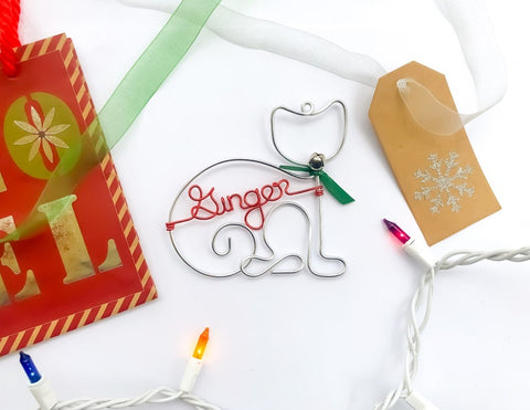 Handcrafted Wire Cat Ornament With Pet's Name