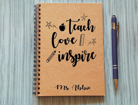 Teach Love Inspire Personalized Journal Notebook