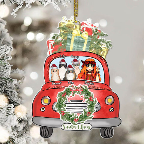 Red Truck Cat Mom Personalized Ornament