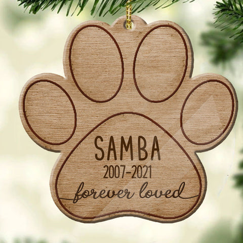 Forever Loved Paw Personalized Memorial Ornament
