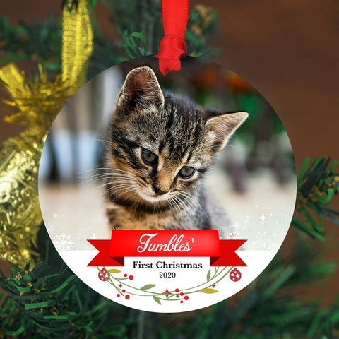 Cat's First Christmas Photo Ornament