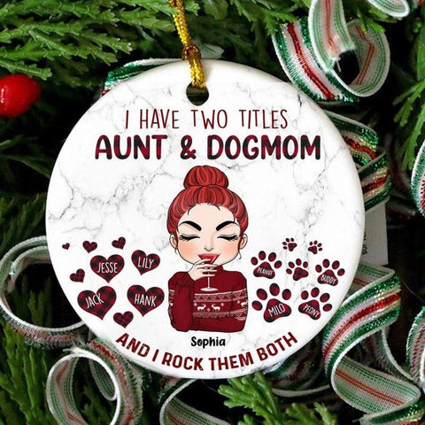 Aunt And Dog Mom Personalized Ornament