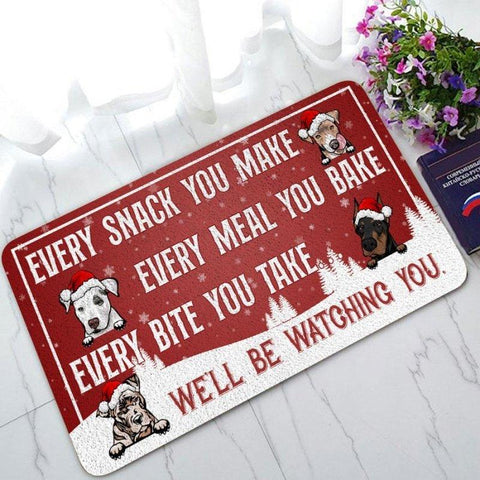 Dogs Will Be Watching You Personalized Christmas Doormat