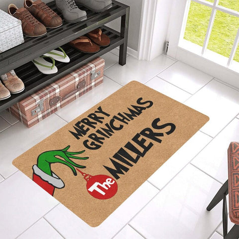 Merry Grinchmas Funny Christmas Doormat With Family Name