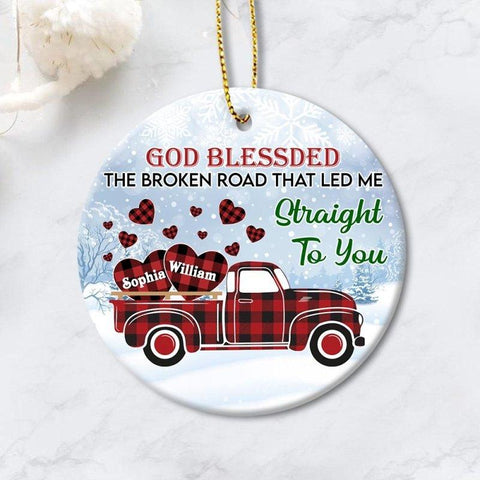 Red Christmas Truck Couple Ornament