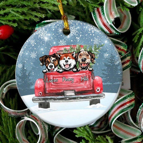 Red Truck Christmas Personalized Dog Ornament