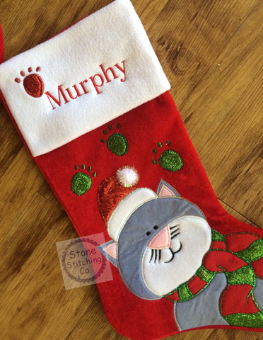Personalized Christmas Stocking For Cat
