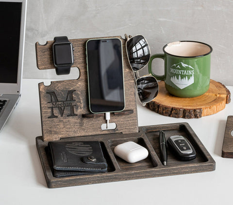 Wooden Docking Station With Name