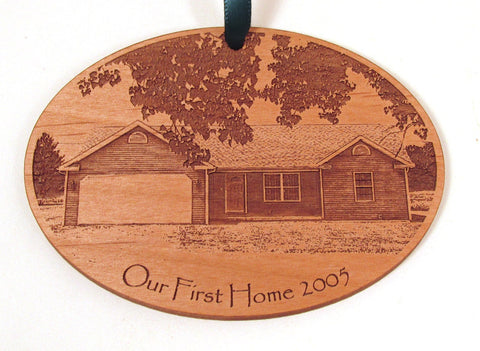 First Home Wooden Photo Ornament