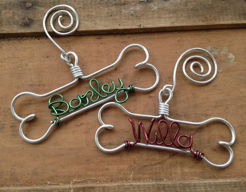 Handcraft Wire Bone With Pet's Name Ornament