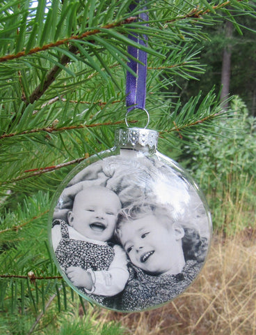 Glass Christmas Bauble with Photo