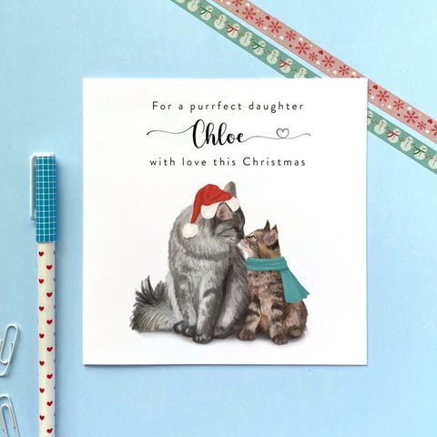 Personalized Christmas Card With Cat