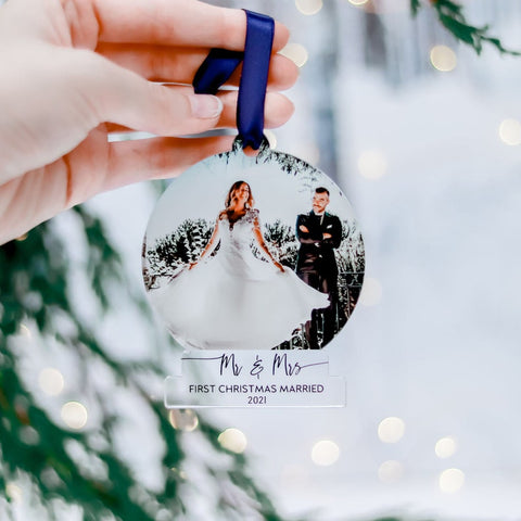 First Time Married Photo Ornament