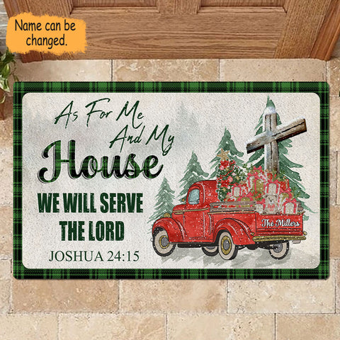We Will Serve The Lord Personalized Christmas Doormat