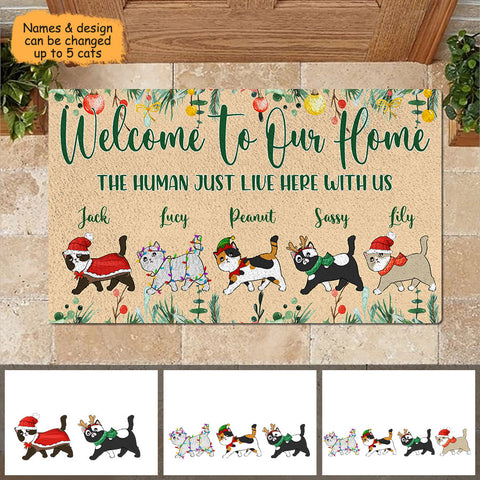 Welcome To Cat Home Personalized Christmas Doormat