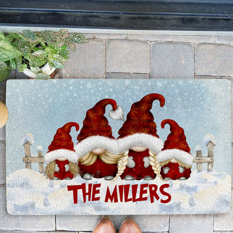 The Gnome Family Personalized Christmas Doormat