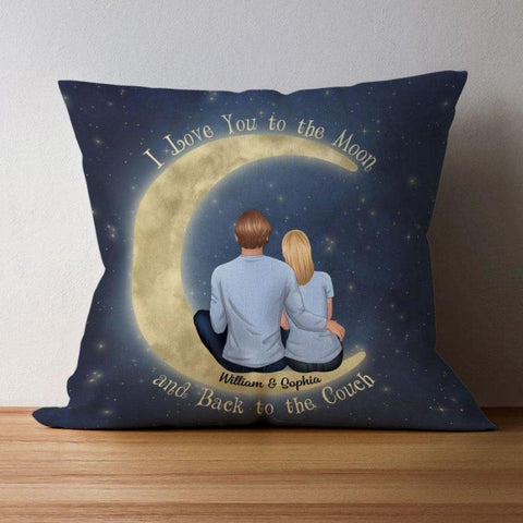 I Love You To The Moon Personalized Christmas Pillow