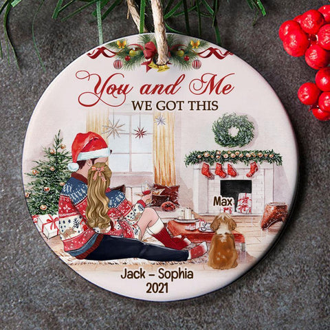 You And Me And Dog Personalized Christmas Ornament
