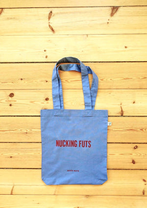 Tote bag, nucking futs, blue with red text