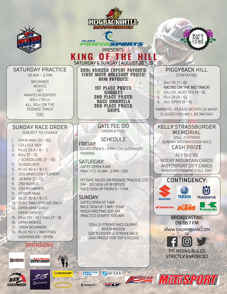 Filer's Powersports Presents the 2021 King of the Hill Race for a Cure at Hogback Hill