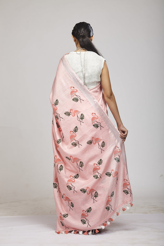 Panchi Baby Pink Cotton Linen Saree