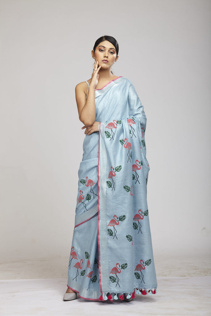 Panchi Powder Blue Cotton Linen Saree