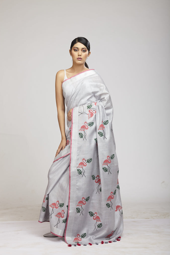 Panchi Ice Grey Cotton Linen Saree