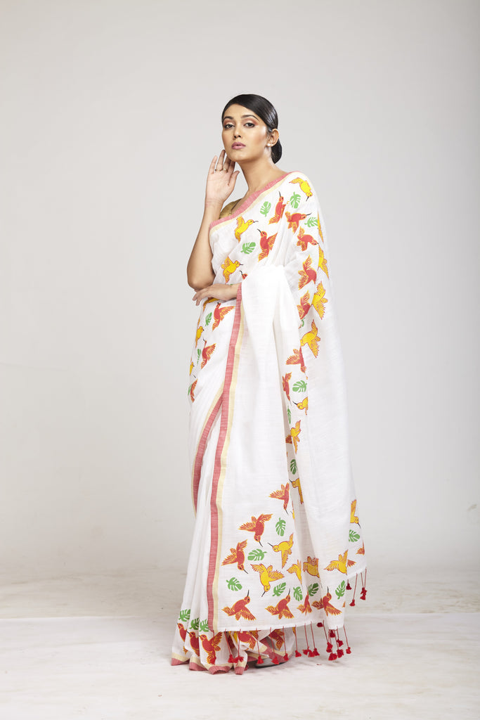 Panchi White Cotton Khadi Saree