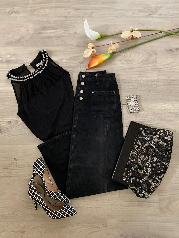 Black Chic Long Jean Skirt # TA-0646